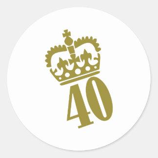 40th Birthday - Number – Fourty Round Sticker