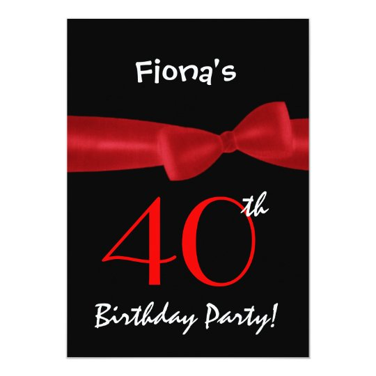 40th Birthday Party Black and Colourful Printed Card