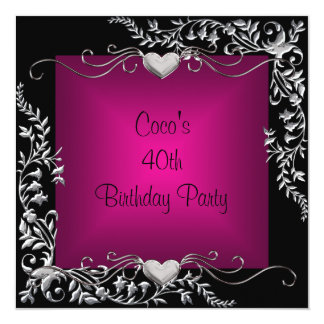 40th Birthday Party Black Silver Floral Pink 13 Cm X 13 Cm Square Invitation Card