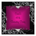 40th Birthday Party Black Silver Floral Pink Personalised Invites