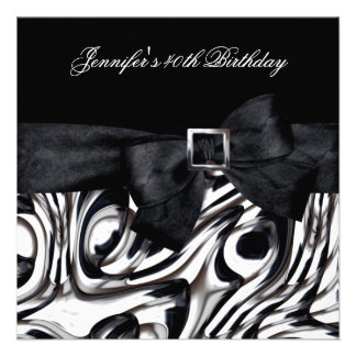 40th Birthday Party Black White Abstract Bow Custom Invite