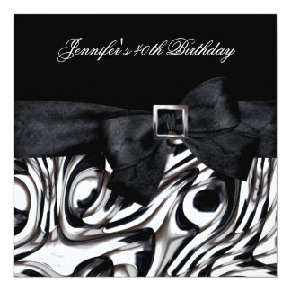40th Birthday Party Black White Abstract Bow 5.25x5.25 Square Paper Invitation Card