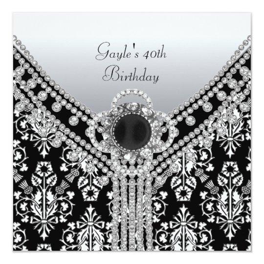 40th Birthday Party Black White Damask Diamond Card