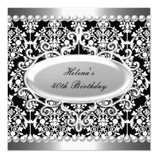 40th Birthday Party Black White Damask Floral Card