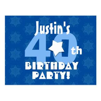 40th Birthday Party Blue Stars Custom Name R23 Postcard