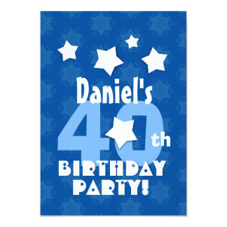 40th Birthday Party Blue Stars Custom Name R23Z 13 Cm X 18 Cm Invitation Card