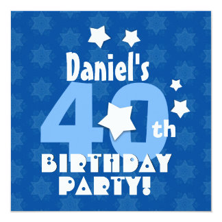 40th Birthday Party Blue Stars Custom Name R23Z 5.25x5.25 Square Paper Invitation Card