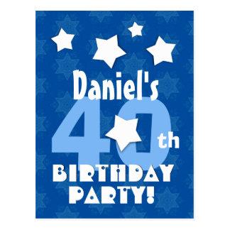 40th Birthday Party Blue Stars Custom Name R23Z Postcard