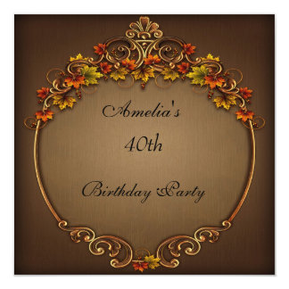 40th Birthday Party Brown Autumn Floral 13 Cm X 13 Cm Square Invitation Card