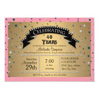 40th Birthday Party Celebrate Faux Jewel Confetti Custom Invites