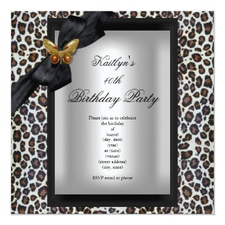 40th Birthday Party Cheetah Black Butterfly 13 Cm X 13 Cm Square Invitation Card