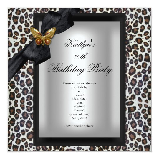 40th Birthday Party Cheetah Black Butterfly Card