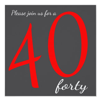 40th Birthday Party    DIY Text 13 Cm X 13 Cm Square Invitation Card