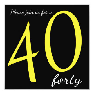 40th Birthday Party  | DIY Text 13 Cm X 13 Cm Square Invitation Card