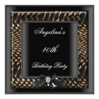 40th Birthday Party Elegant Black Snakeskin Jewel Card