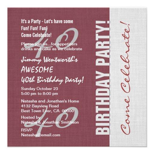 40th Birthday Party Elegant Script Numbers W02 Custom Invite