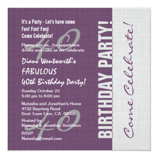 40th Birthday Party Elegant Script Numbers W04 Invitations