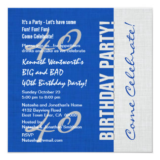 40th Birthday Party Elegant Script Numbers W11 Personalized Invite