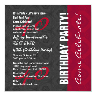 40th Birthday Party Elegant Script Numbers W14 Personalized Invites