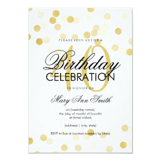 40th Birthday Party Faux Gold Foil Glitter Lights 13 Cm X 18 Cm Invitation Card