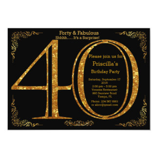 40th,Birthday party, forty, Gatsby, black & gold 13 Cm X 18 Cm Invitation Card