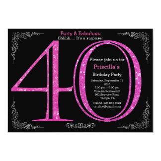 40th, Birthday party, forty, Gatsby, black silver 13 Cm X 18 Cm Invitation Card