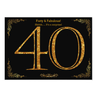 40th Birthday party,Gatsby styl,black gold glitter 13 Cm X 18 Cm Invitation Card