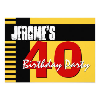 40th Birthday Party Gold and Black Stripes V01 Card