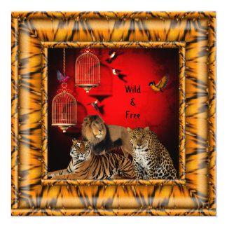 40th Birthday Party Gold Bamboo Red Wild Tiger 13 Cm X 13 Cm Square Invitation Card