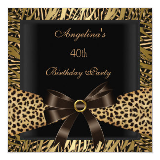 40th Birthday Party Gold Leopard Brown Black Card