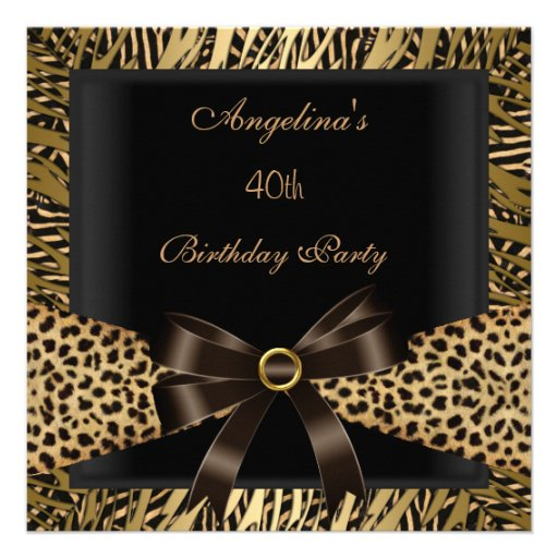 40th Birthday Party Gold Leopard Brown Black Announcements