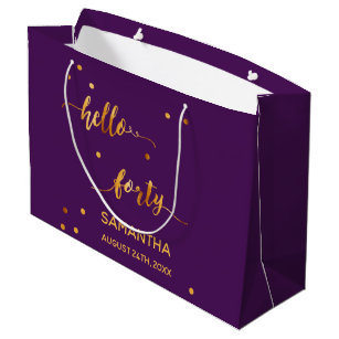 40th Birthday Party Gold Purple Hello Forty Large Gift Bag