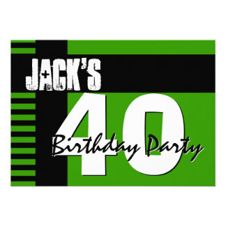 40th Birthday Party Green and Black Stripes Personalized Invite