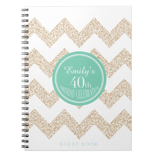 40th Birthday Party Guest Book Choose Colour Notebook