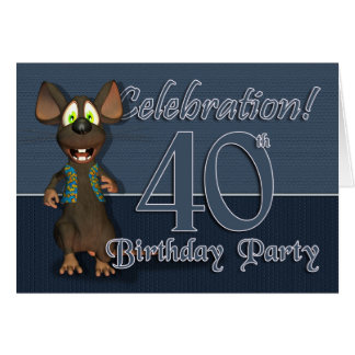 40th Birthday Party Invitaion - Fun Mouse Greeting Card