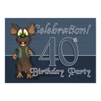 40th Birthday Party Invitaion - Fun Mouse 13 Cm X 18 Cm Invitation Card