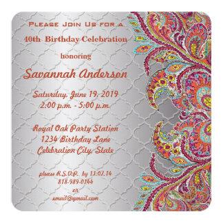 40th Birthday Party 13 Cm X 13 Cm Square Invitation Card