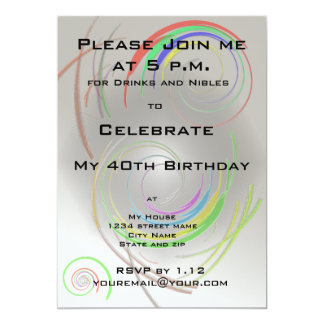 "40th Birthday Party Invitation 5"" X 7"" Invitation Card"