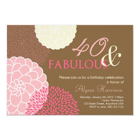 40th Birthday Party Invitation- 40 and Fabulous! Card