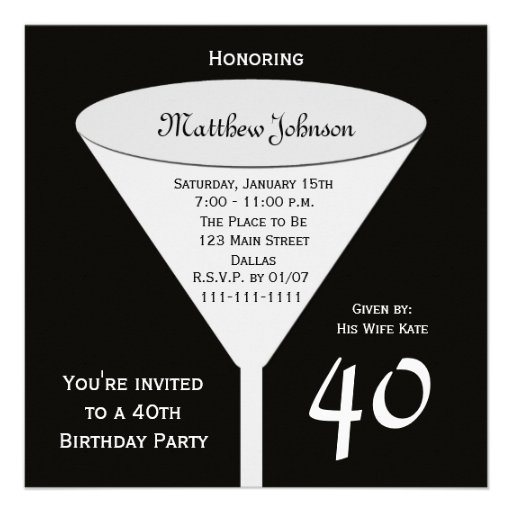 40th Birthday Party Invitation -- A Toast For 40 13 Cm X