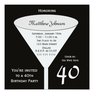 "40th Birthday Party Invitation -- A Toast for 40 5.25"" Square Invitation Card"