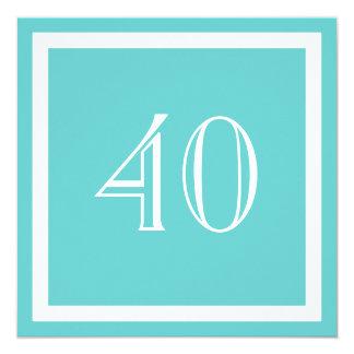 40th Birthday Party Invitation - Aqua