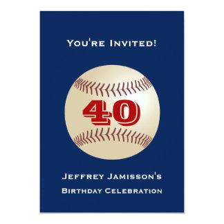 40th Birthday Party Invitation Baseball