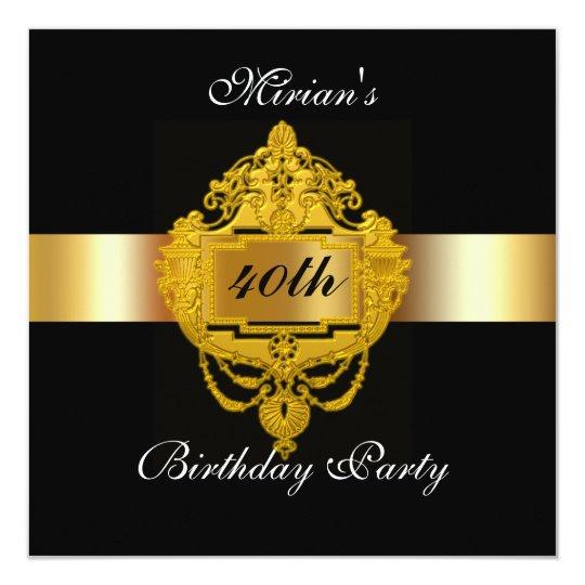 40th Birthday Party Invitation black gold