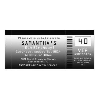 40th Birthday Party Invitation, Black Ticket 10 Cm X 24 Cm Invitation Card