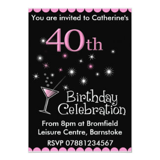 40th Birthday Party Invitation - Cocktail Glass