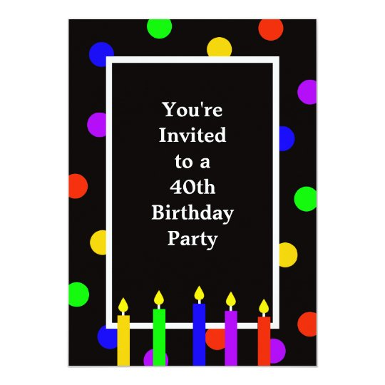 40th Birthday Party Invitation Colourful Candles