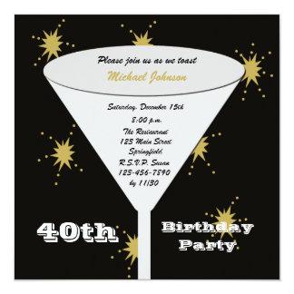 40th Birthday Party Invitation -- Gold 40th Toast