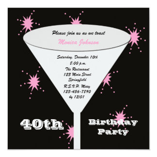 "40th Birthday Party Invitation - Pink 40th Toast 5.25"" Square Invitation Card"