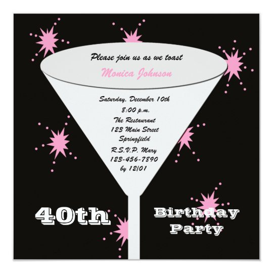 40th Birthday Party Invitation Pink 40th Toast
